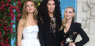 Lily James, Cher and Amanda Seyfried at the Mamma Mia! Here We Go Again premiere. Photo: Shutterstock