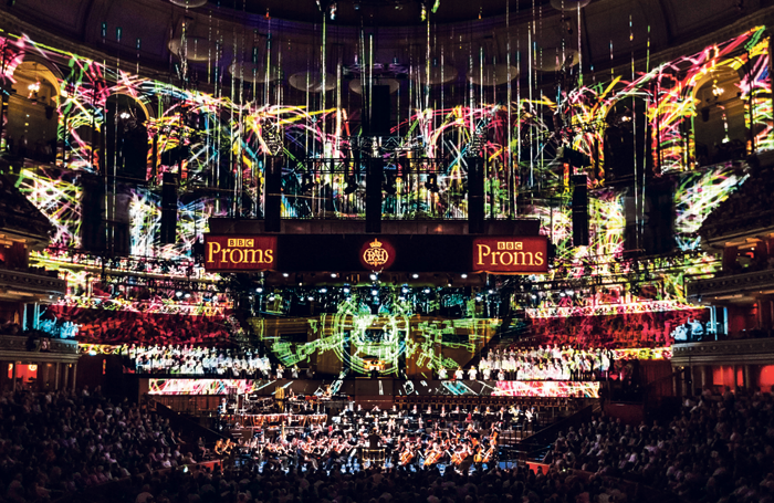 59 Productions' projections at the Royal Albert Hall for Five Telegrams at the BBC Proms. Photo: Justin Sutcliffe