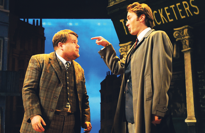 James Corden and Oliver Chris in One Man Two Guvnors at the Lyttelton, National Theatre. Photo: Tristram Kenton