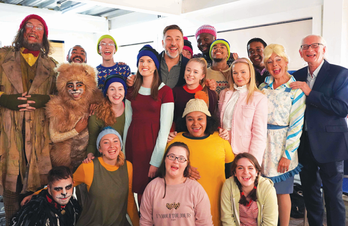 Writer David Walliams with the cast and crew of Mr Stink at Chickenshed Theatre. Photo: Chickenshed