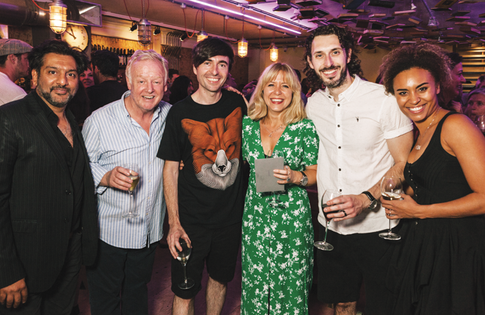 Cast members Nitin Ganatra and Les Dennis, writer Danny Robins, director Hannah Price and cast members Blake Harrison and Tala Gouveia. Photo: Tomas Turpie