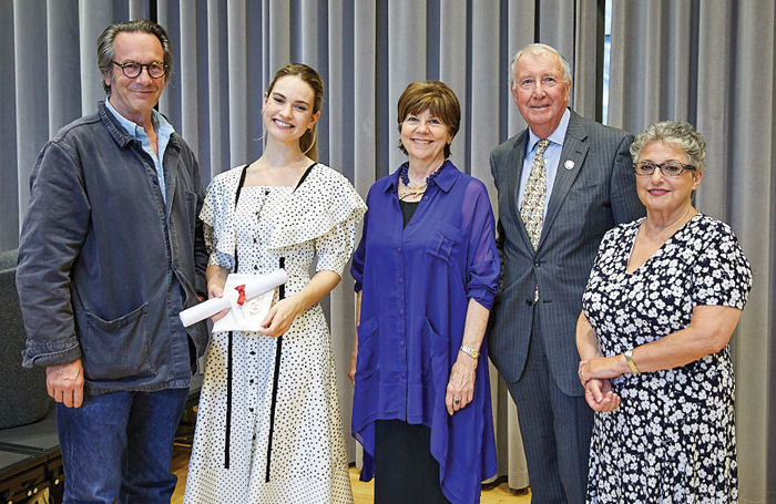 Vice principal Christian Burgess, alumna, actor Lily James and principal Lynne Williams, board of governors deputy chairman John Bennett and chairman Vivienne Littlechild. Photo: Paul Cochrane