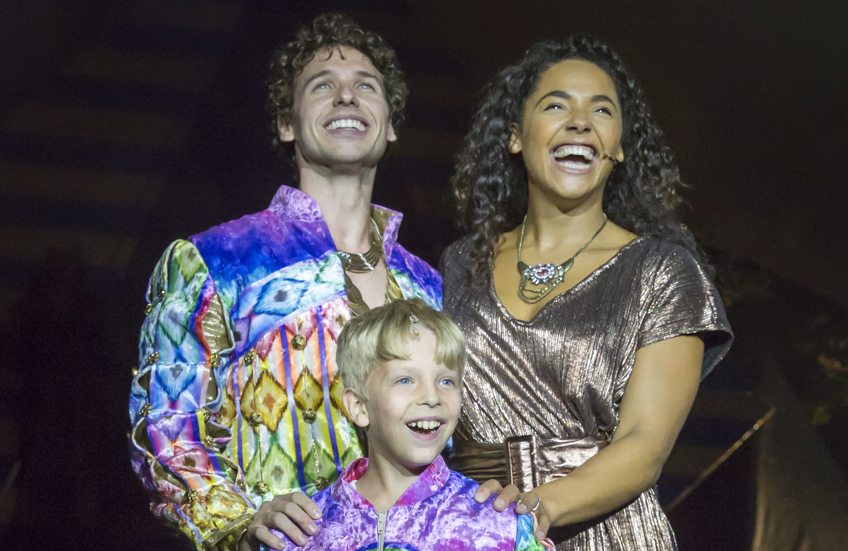 Matthew Jeans, Shanay Holmes Steward and George Moore in Joseph and the Amazing Technicolor Dreamcoat at Kilworth House