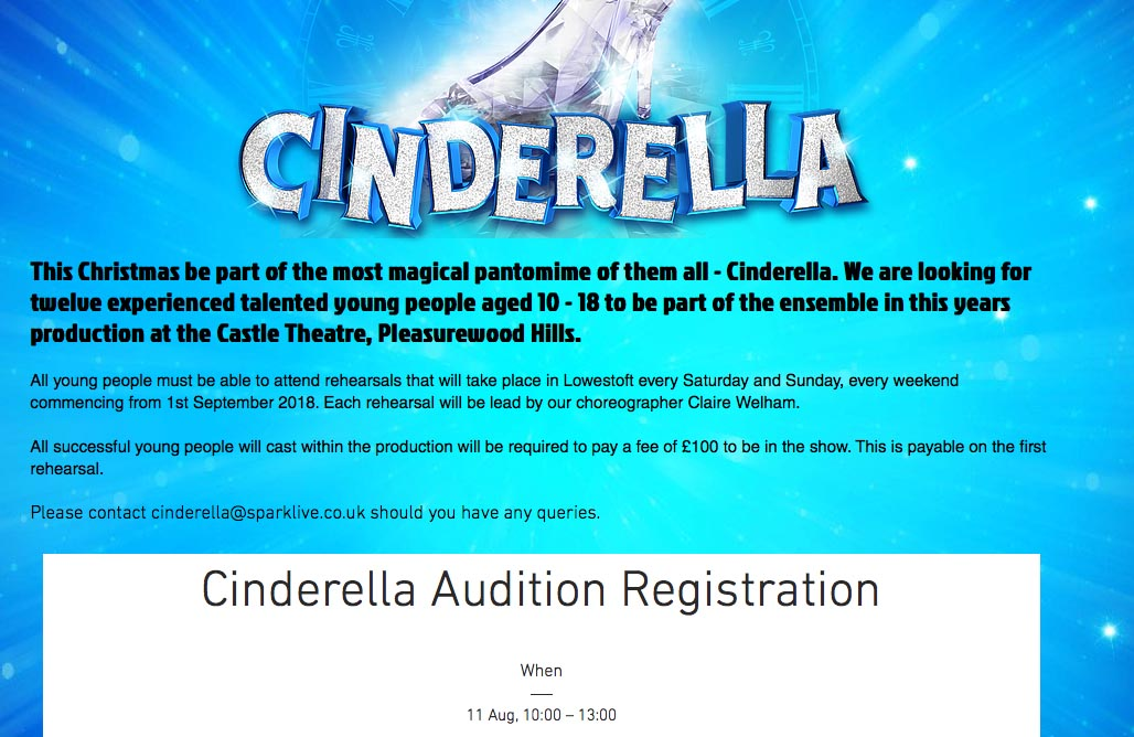 A screenshot of the Cinderella advert from Spark Live's website