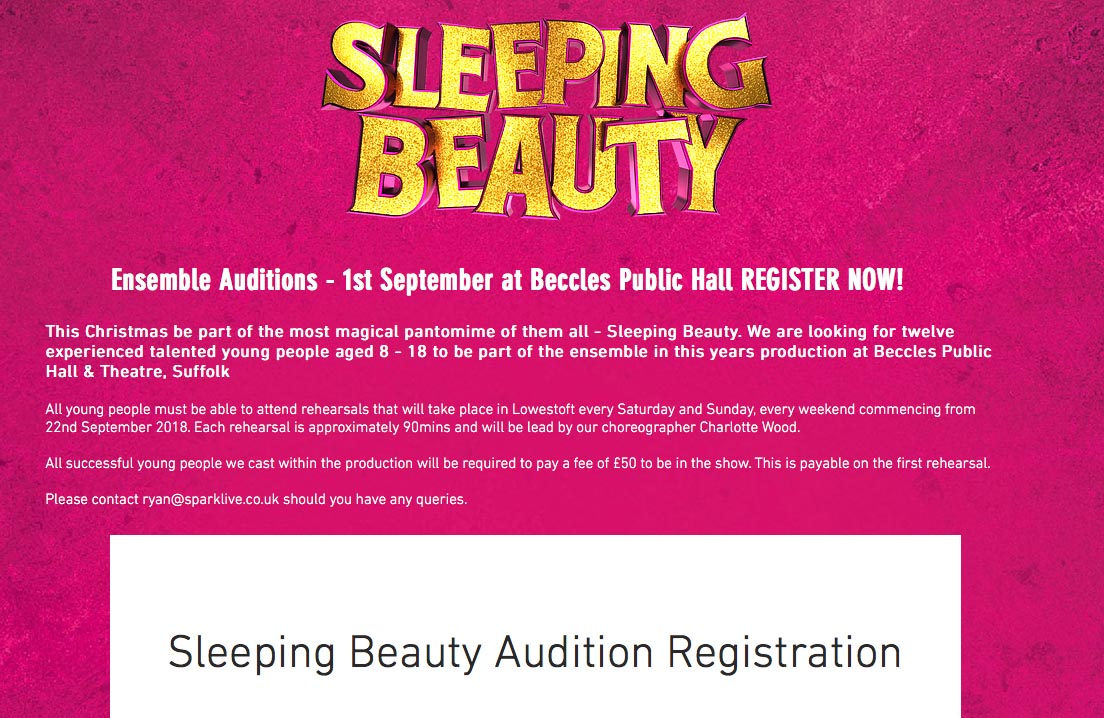 A screenshot of the Sleeping Beauty advert from Spark Live's website