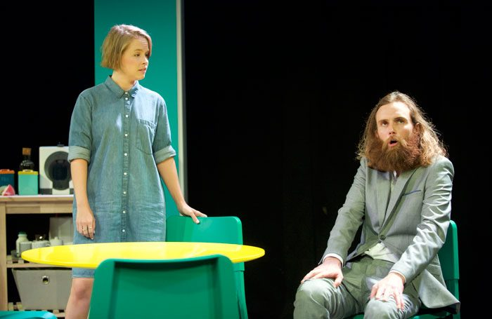 Jessica Clark and Rob Auton in Nina's Got News by Frank Skinner at Pleasance Dome, Edinburgh. Photo: Rob McDougall