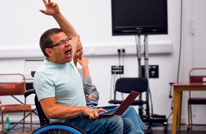 Robert Softley Gale in rehearsals for My Left/Right Foot: The Musical. Photo: photos: Tommy Ga-Ken Wan