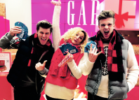 Luke Baker, Fleur Rooth and Jonno Davies working for Gap