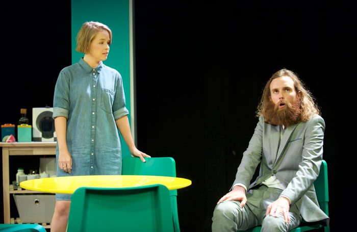 Jessica Clark and Rob Auton in Frank Skinner's Nina's Got News. Photo: Rob McDougall