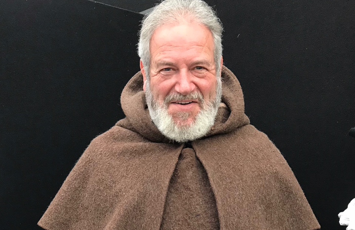 David Fleeshman in his Friar Laurence costume at Shakespeare's Rose Theatre