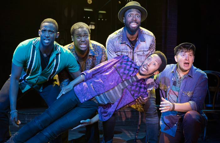 Jelani Remy, Shavey Brown, John Edwards, Dwayne Cooper and Max Sangerman in Smokey Joe's Cafe. Photo: Joan Marcus