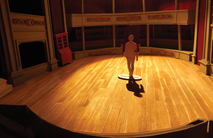 Tom Piper's model box for The Cherry Orchard at Bristol Old Vic: the 18th-century theatre was transformed into an in-the-round space. Photo: Tom Pipers