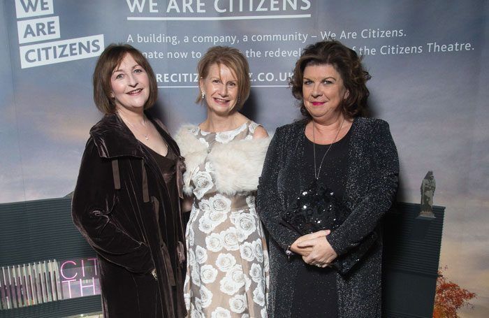 Judith Kilvington, centre, with actors Blythe Duff and Elaine C Smith at a gala in October 2017. Photo: Gibson Digital