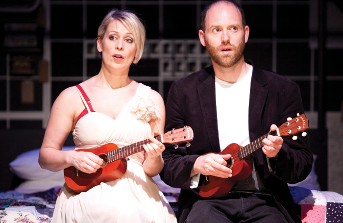 Cora Bissett with Matthew Pidgeon in Midsummer (a play with songs) on tour in Australia in 2008. Photo: Lisa Tomasetti