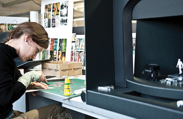 BA student at Central working on realising a model box design. Photo: Patrick Baldwin
