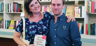 Author Amber Massie-Blomfield with critic and fellow contributor to The Stage Matt Trueman at the Golden Hare bookshop