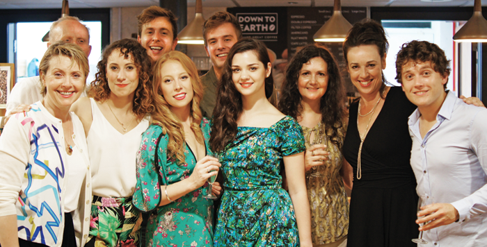 Back row: Cast members James Duke, Thomas Richardson and Oliver Mott. Front: Karen Ascoe, Sarah Kempton, Lydea Perkins, Alice Imelda, Juliet Forster (director), Christine Entwisle and Toby Vaughan. Photo: Rachel Swift