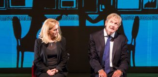 Rebecca Johnson and Robert Bathurst in Song of Lunch, Pleasance Theatre. Photo: Karla Gowlett