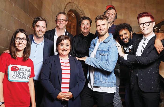 Brain Tumour Charity's Katie Mosses, Underbelly's Ed Bartlam and Charlie Wood with comedians Susan Calman (front), Zoe Lyons, Joel Dommett, David O'Doherty, Nish Kumar and Rhys Nicholson. Photo: Matt Beech