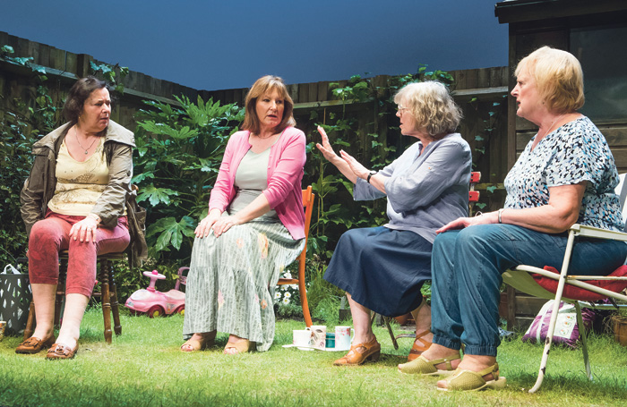 Linda Bassett, Deborah Findlay, Kika Markham and June Watson in Escaped Alone by Caryl Churchill at Royal Court, Jerwood Theatre Downstairs. Photo: Tristram Kenton