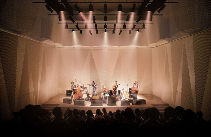 Artist's impression of a performance at the new 200-seat studio theatre space at Edinburgh's new Impact Centre. Photo: Hayes Davidson