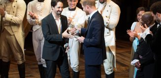 Lin-Manuel Miranda and Prince Harry with the cast of Hamilton at Victoria Palace Theatre. Photo: Craig Sugden