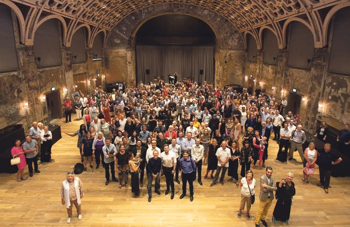 Theatremakers and members of the community congregate in BAC's newly restored Grand Hall on July 13 this year. Photo: James Allan