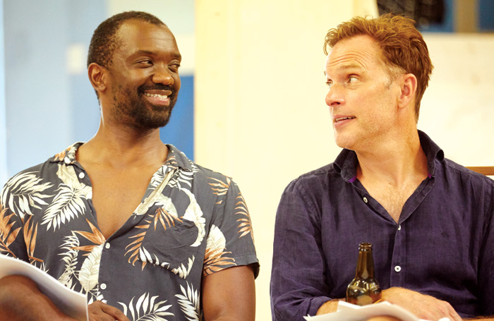 Daon Broni and Daniel Lapaine in rehearsals for Holy Shit. Photo: Mark Douet