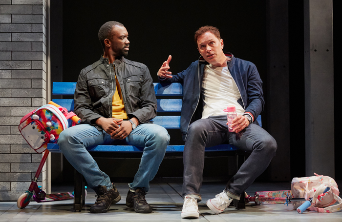 Daon Broni and Daniel Lapaine in Holy Sh!t at the Kiln Theatre. Photo: Mark Douet