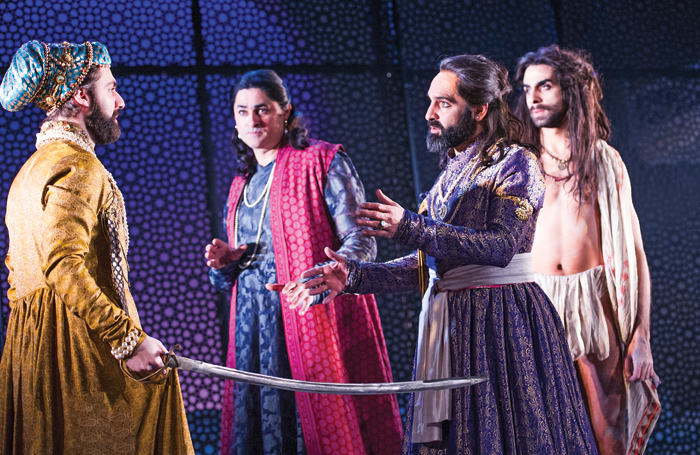 Sargon Yelda, Chook Sibtain, Zubin Varla, Scott Karim and Vincent Edrahim in Dara at the National Theatre in 2015. Photo: Tristram Kenton