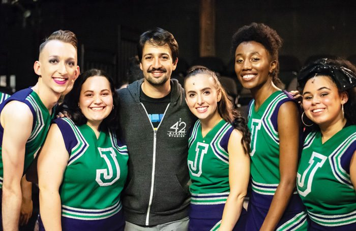 British Theatre Academy cast members Matthew Brazier and Kristine Kruse, Lin-Manuel Miranda, Robyn McIntyre, Chisara Agor and Mary Celeste at Southwark Playhouse, London. Photo: Eliza Wilmot