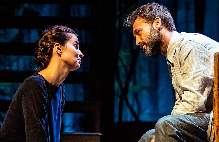 Heida Reed and Paul Nicholls in Foxfinder at the Ambassadors Theatre. Photo: Pamela Raith