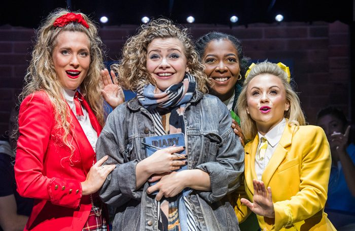 Jodie Steele, Carrie Hope Fletcher, T'Shan Williams and Sophie Isaacs in Heathers The Musical at Theatre Royal Haymarket.