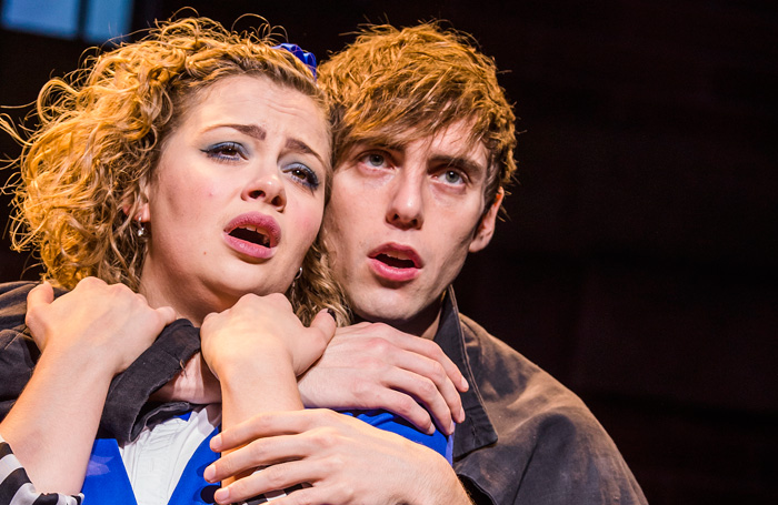Jamie Steele Jason Dean and Carrie Hope Fletcher in Heathers the Musical. Photo: Tristram Kenton