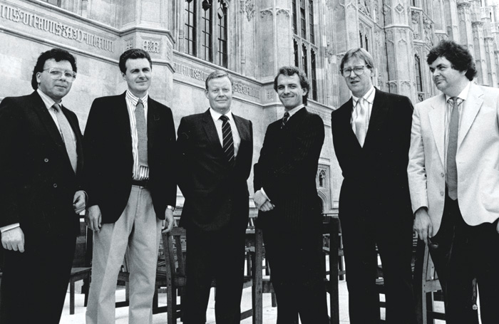 The writers and stars of The New Statesman, which featured Rik Mayall (third from right) as cold-hearted Tory MP Alan B'Stard