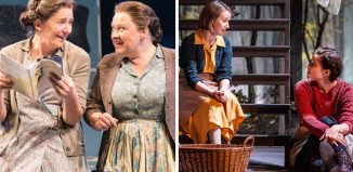 Clare Burt and Claire Machin in Flowers for Mrs Harris/Bryony Hannah and Heida Reed in Foxfinder. Photos: Johan Persson/Pamela Raith