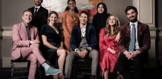 The Stage Debut award winners, left to right: Gus Gowland, Akshay Sharan, Katy Rudd, Amara Okereke, Louis Gaunt, Khadjia Raza, Gemma Dobson and Andrew Thompson. Photo: Alex Brenner