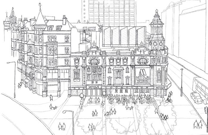 Bennetts Associates drawing of the new Shaftesbury Theatre and Princes Circus