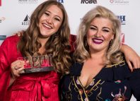 Winner Gemma Dobson with award presenter Jodie Prenger. Photo: Alex Brenner