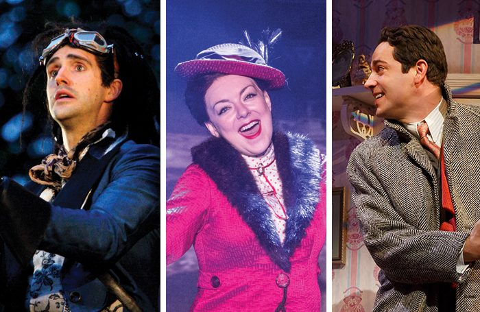 Michael Xavier in Into the Woods; Sheridan Smith in Funny Girl; Zachary Levi in She Loves Me. Photos: Catherine Ashmore/Marc Brenner/Joan Marcus