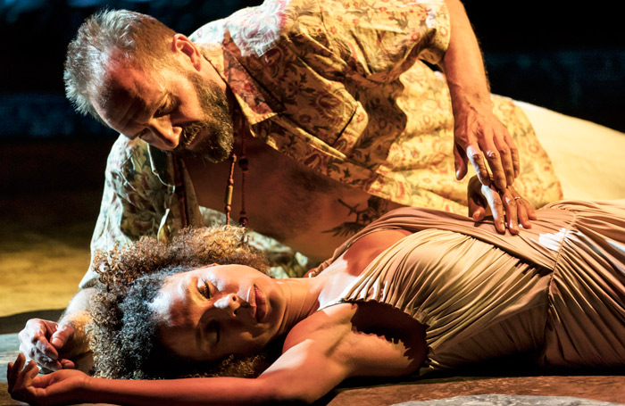 Sophie Okonedo and Ralph Fiennes in National Theatre's Antony and Cleopatra. Photo: Johan Persson