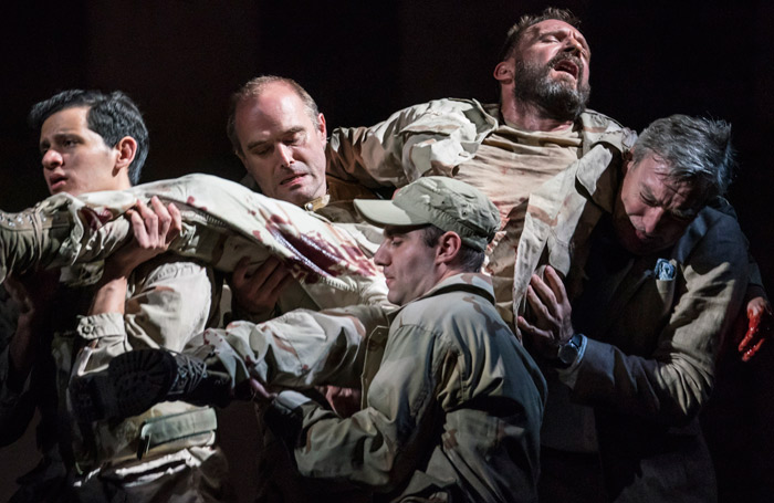 Clockwise from left: Waleed Hammad, Henry Everett, Ralph Fiennes, Nick Sampson, Sargon Yelda in Antony and Cleopatra. Photo: Johan Persson