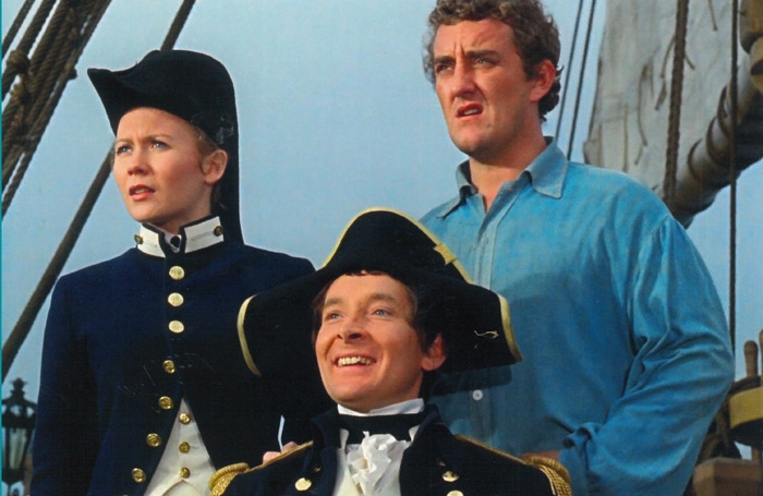 Bernard Cribbins (right) with co-stars Juliet Mills and Kenneth Williams in the 1963 film Carry on Jack