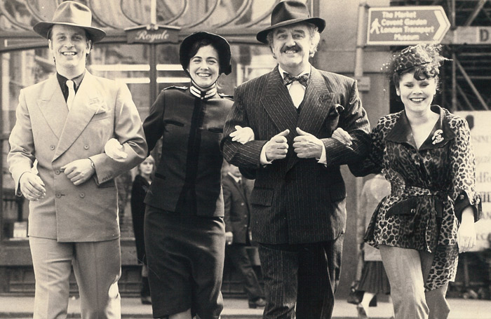 with co-stars Andrew C Wadsworth, Betsy Brantley and Imelda Staunton in National's Guys and Dolls in 198