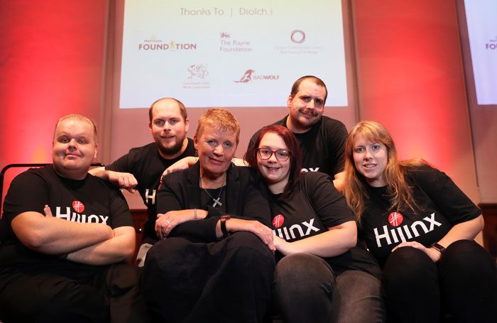 Hijinx Theatre chief executive Clare Williams (centre) with, left to right, company actors Danny Mannings, Richard Newnham, Lucy Green, Tom Spencer and Lindsay Foster