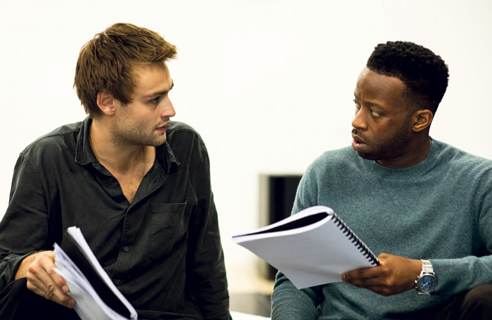 Douglas Booth and Clifford Samuel in rehearsal for A Guide for the Homesick. Photo: Helen Myabanks