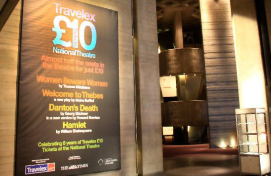 National Theatre billboard promoting Travelex-sponsored cheaper tickets in 2010 (prices later rose to £15). Photo: Catherine Gerbrands