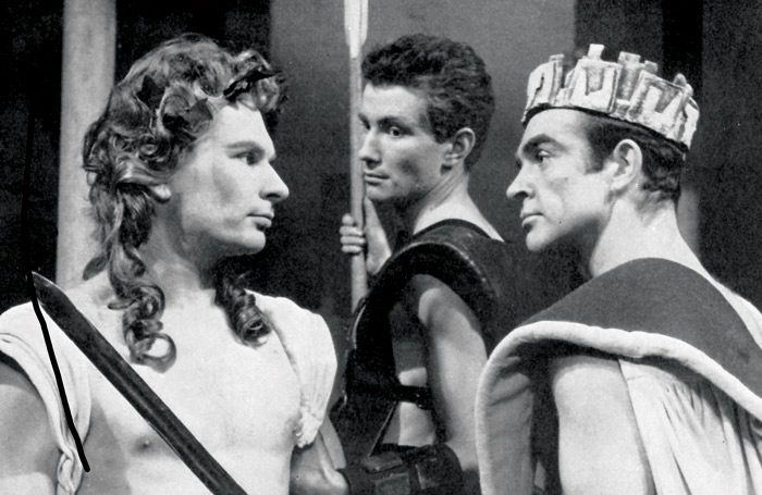 Sean Connery, right, as Pentheus in The Bacchae at Oxford Playhouse (1959)