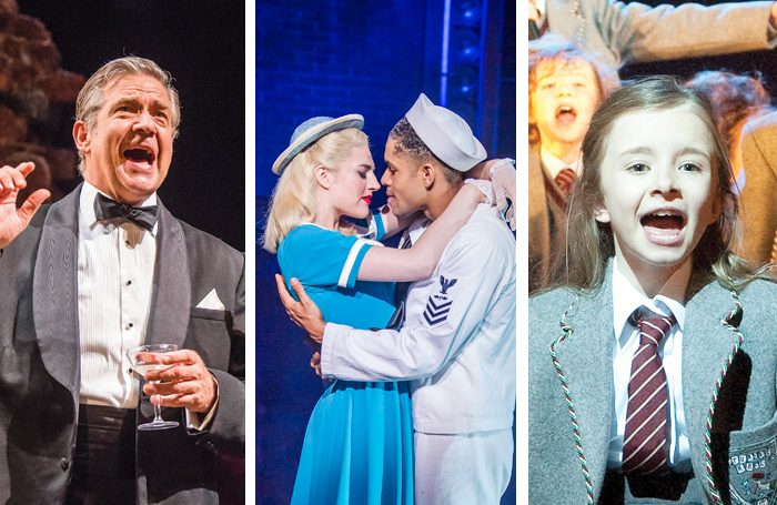 Philip Quast in Follies, Lizzy Connolly and Jacob Maynard in On the Town and Kerry Ingram in Matilda. Photos Tristram Kenton