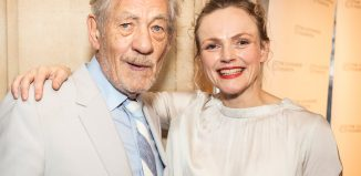 Award presenter Ian McKellen with winner, actor Maxine Peake at the UK Theatre Awards, Photo: Pamela Raith